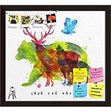 ArtzFolio Color Animals Bear Deer Wolf Fox Bird Printed Bulletin Board Notice Pin Board cum Dark Brown Framed Painting 13.1 x 12inch