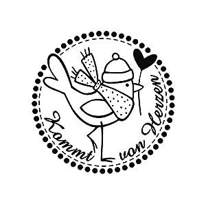 BUTTERER 28863000 Rayher Stempel Kommt von Herzen, 3 cm Durchmesser