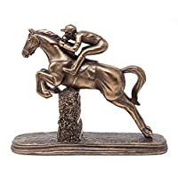 Jumping Horse Racing Statue Bronze Sculpture With Jockey Steeplechaser Ornament