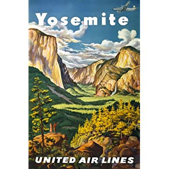 VINTAGE YOSEMITE NATIONAL PARK USA TRAVEL A4 POSTER PRINT