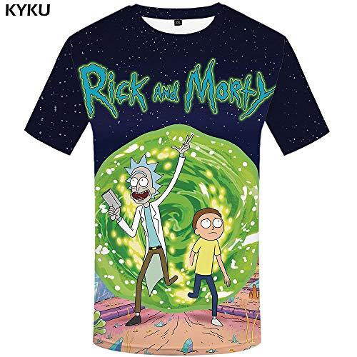 KYKU Marke Rick Und Morty T-Shirt 3D Anime T-Shirts Lustige T-Shirts Chinesisch Gedruckt Mens T Männliche Kleidung Sexy Tops Hip Hop (Anime Männliche Kleidung)