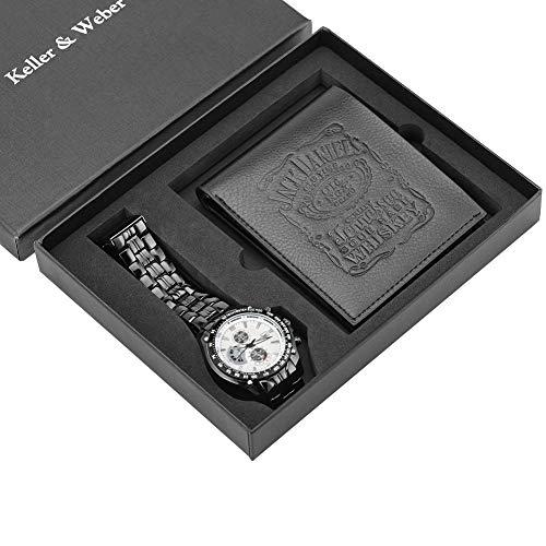 Exquisites Set für Herren, multifunktionales weißes Zifferblatt, Quarz-Armbanduhr für Jungen, Freund, modisches Lederetui für Vater und Ehemann
