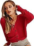 ECOWISH Damen Casual Pullover V Ausschnitt Kurz Strickjacke Button Down Cropped Strick Fledermausärmel Leicht Cardigan Rot M