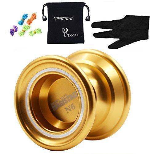 Authentic MAGIC YOYO N6 Magistrate Professional Nicht reagierende Yo-Yos mit Tasche & 5 Strings & Handschuh für Geschenk Spielzeug, Metall, Gold