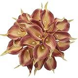 Jun7L Blumen Calla-Lilien, für Hochzeiten/Partys, Latex, 10 Stück Braun A 34x5x7cm