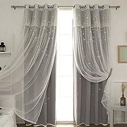 Nclon Prinzessin Vorhänge gardinen,Europäische Licht Blockiert Reine Farbe Sterne Wohnzimmer Schlafzimmer Spitze Voile Vorhänge gardinen-grau 1 Panel W200cm*D260cm
