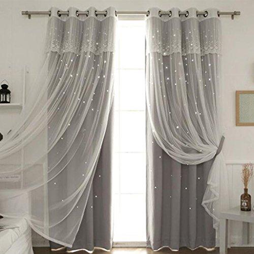 Nclon Prinzessin Vorhänge gardinen,Europäische Licht Blockiert Reine Farbe Sterne Wohnzimmer...