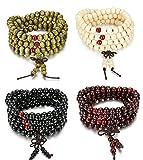 Sailimue 8mm 4Pcs Holz Perlen Armband für Männer Damen Armbänder Buddha Elastik