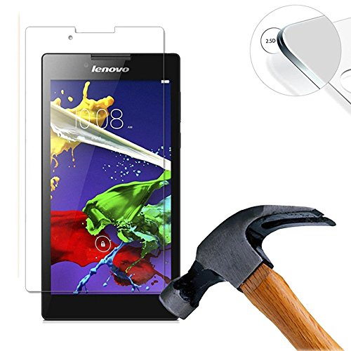 Lusee 2 x Pack Panzerglasfolie Schutzfolie für Lenovo Tab 2 A7-10 A7-10F A7-30 7.0 Zoll Bildschirmschutz Tempered Glass Folie Screen Protector Panzerfolie Glasfolie 0,3 mm 9H Clear 2.5D