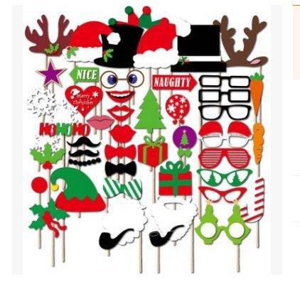 QiangWei Requisiten-Set, 50-teilig, für Foto-Automat, Zubehör, mit bunten Brillen, Schnurrbart, Lippen, Fliegen, Hüte, an Stäben, für Hochzeit, Party, für Weihnachten, Geburtstag