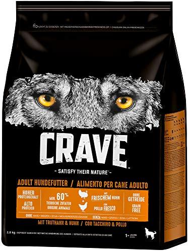 CRAVE Premium Trockenfutter für Hunde - Getreidefreies Adult Hundefutter mit hohem Proteingehalt,  3 x 2,8 kg