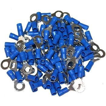 Lot de 100 cosses /électriques rondes oeil oeillet anneau plates 5mm bleu Aerzetix C1267