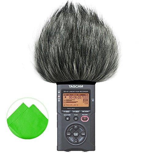 first2savvv-tm-dr-40-b01g11-long-shotgun-mikrofone-pelzig-windschutzscheibe-muff-fur-tascam-dr-40-dr