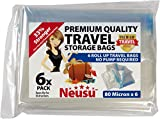 Neusu Extra Large Premium Roll Up Travel Vacuum Bags - 6 Pack Ideal For Family Holidays, Large Suitcases, Racksacks - Premium Quality 80 Micron Storage Bags - 50cm x 70cm