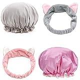 Set di doccia 2 pcs Berretto di doccia + 2pcs fascia capelli perfetto per il trucco/cura del viso/Si Dischetti/Prendere doccia senza lei inumidire i capelli