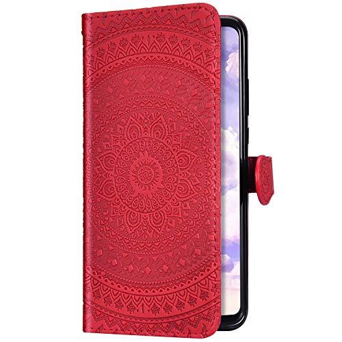 Uposao Kompatibel mit Samsung Galaxy A8 2018 Hülle Leder Schutzhülle Mandala Blumen Motiv Muster Brieftasche Handyhülle Klapphülle Handytasche Flip Lederhülle Leder Tasche Etui Case,Rot