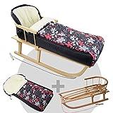 BambiniWelt24 BAMBINIWELT Kombi-Angebot Holz-Schlitten mit Rückenlehne & Zugseil + universaler Winterfußsack (108cm), auch geeignet für Babyschale, Kinderwagen, Buggy, aus Wolle (schwarz rote Blumen)