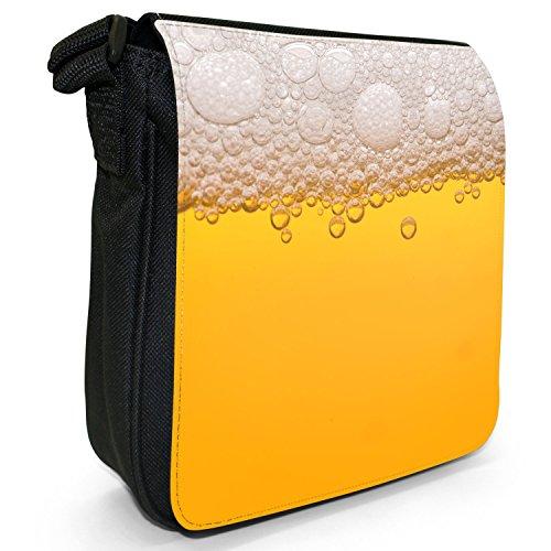 Everyone Loves Pub alcol birra-Borsa a tracolla in tela, piccola, colore: nero, taglia: S Nero (Clear Yellow Beer With Foam)