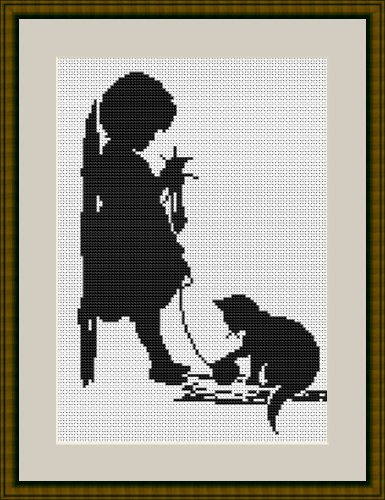 Lucas-S Girl with Cat Counted Cross Stitch Kit, used for sale  Delivered anywhere in Ireland
