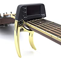 Professional Guitar Capo Tuner,Loftstyle Chromatic Clip-on Tuner with Rotational Double Color Screen Light LCD Display Single-handed Guitar Capo (Golden)