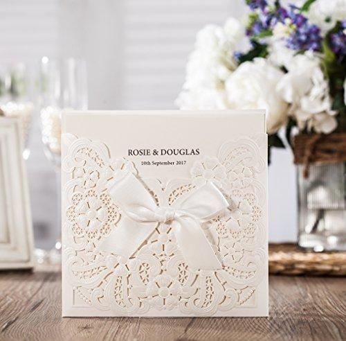 wishmade weiß Laser Cut & geprägt Einladungen Kit mit Schleife mit Antwortkarten Thank You Karte für Hochzeit Party Geburtstag Anlass cw6112 (Baby-segen-einladungen)