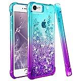 wlooo Cover per iPhone 6/6s/7/8, iPhone 8 Cover, Cover iPhone 7, Glitter Bling Liquido Custodia Sparkly Luccichio TPU Silicone Protettivo Morbido Brillantini Quicksand Case (Teal Violet)