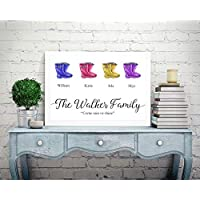 Personalised Family Picture Print Tree A4 Perfect Christmas Birthday Gift Present For Mum Dad Nanna Aunty Sister Grandkids Grandchildren Wellington Boots Wellies P22