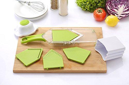 NexGadget V-Blade-Gemüsehobel,Reibe mit 4 V-Blade Klingen,Zwiebelschneider – Pommes Kartoffelschneider mit Edelstahl-Blatt,schneidet Scheiben,schneidet Stifte - 6