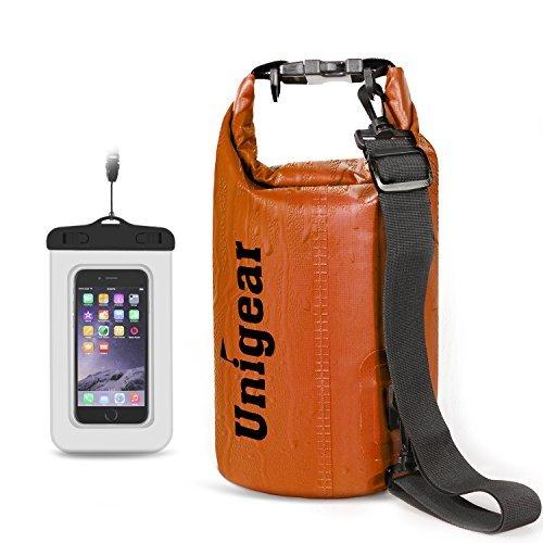 Unigear sacco dry bag borse impermeabile, dry bag galleggiante può essere usato per la navigazione, trekking, kayak, canoa, pesca, rafting, nuoto, campeggio, sci e snowboard con omaggio gratuito di una custodia telefono impermeabile universale (arancione, 20l)