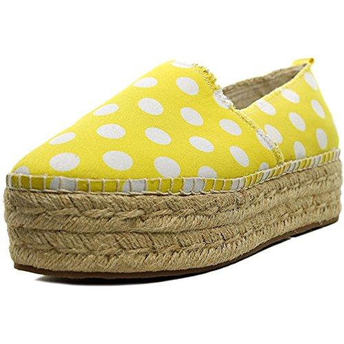Betsey Johnson Flouncee Toile Espadrille Yellow-Wht