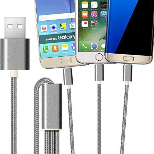 2ticks USB-C TYP-C / Micro USB / 8 Pin Beleuchtung - Drei in einem Universal Highspeed Multifunktions geflochtene 3 in 1 Ladekabel Kabel 1 Meter grau für At&T Trek 2 Hd (Trek-kabel)