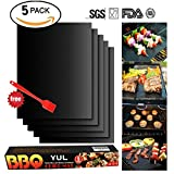 BBQ Grill Mat Set of 5 - Non Stick Oven Liner Teflon Cooking Mats - Reusable, Durable, Heat Resistantand, Easy to Clean, Barbecue Sheets For Grilling Meat, Veggies, Seafood, Eggs - Ideal for Charcoal Grill / Gas Grill / Electric Grill(16' x 13') by YUL
