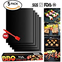 """BBQ Grill Mat Set of 5 - Non Stick Oven Liner Teflon Cooking Mats - Reusable, Durable, Heat Resistantand, Easy to Clean, Barbecue Sheets For Grilling Meat, Veggies, Seafood, Eggs - Ideal for Charcoal Grill / Gas Grill / Electric Grill(16"""" x 13"""") by YUL"""