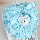 Lhuaguo Mariage Romantique Rose faveurs Coeur Forme Strass Bague Cadeau boîte Coussin Oreiller