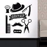 Dalxsh Homme Salon De Coiffure Décalque De Cheveux Outils De Coupe De Vinyle Autocollant Mural Styliste Coiffeur Homme Visage Salon Décal De Fenêtre Étanche Murales 42X48Cm