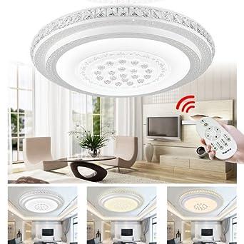 HengdaR 48W Kristall Deckenleuchte Dimmbar LED Sternenhimmel Wohnzimmer Rund Wandlampe Mit Fernbedienung IP44 Amazonde Beleuchtung