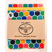 "3 Large Sheets of""Eco Habit"" Beeswax Food Wraps, Handmade in UK, Zero Waste"
