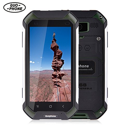 GUOPHONE V19 Smartphone 3G 4,5 inch Android 5,1 IP68 wasserdicht Staub und schockresistent Quad Core 2GB RAM 16GB Rom Outdoor Smart Phone (EU, Grün)