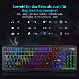 DBPOWER USB Gaming Tastatur, 7-farbige LED Tastatur - 3