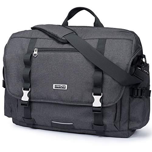 Lifewit Laptoptasche Herren 17 Zoll Taktische Umhängetasche Militärischer Schultertasche Messenger Bag Wasserdicht aus Nylon Schwarz