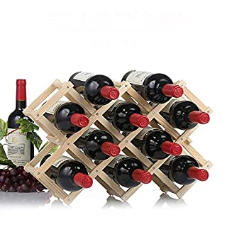 Addfun®Solid Wood Diamond Shaped Wine Rack Foldable Wine Shelves Creative Free Standing Rustic Wood Wine Bottle Holder Folding Wine Rack Organizer Display Shelf(10-Bottle Natrual Color)