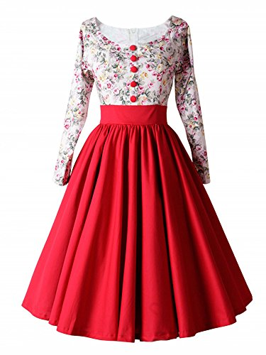 LUOUSE 1950er Retro Vintage Geblümten Patterned Cocktailkleid Faltenrock Kleid,Red,S