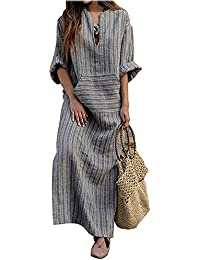 ShallGood Femme Robe Manches Longues Col V Boho Grande Taille Mode Robes  Coton et Lin Rayures 628fd87e2704
