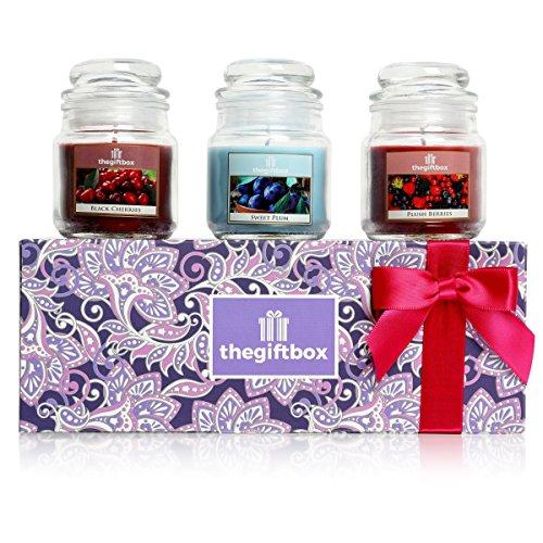 The Gift Box Duftkerze Geschenk-Set mit 3 Kerzen in Einem Glas Perfekt für Weihnachten. Machen Sie Duftkerzen ultimative Geschenke für Damen, Große Geschenke für Sie für die Frau (Honeysheen) -