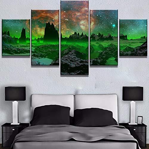 mmwin Leinwand HD Drucke Hause Dekorative Sternenhimmel 5 Stücke Landschaft Wandkunst Planet Schlafzimmer Modulare Bilder Kunstwerk Poster