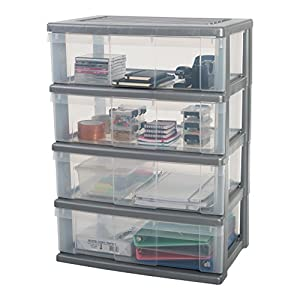Iris Ohyama 4-Drawer Wide Storage cart, Silver, 4 x 34 L