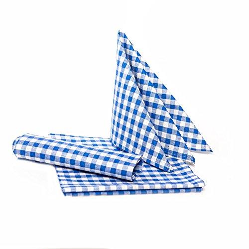 TextilDepot24 Landhaus Tischdecken in Karo - Farbe und Größe wählbar - 100% Baumwolle (50x50 cm - 12 Stück, blau-weiß kariert)