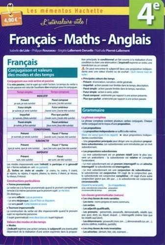 Français, Math, Anglais 4e