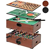 Jago - Mesa multijuegos 5 en 1 (futbolín, billar, ajedrez, backgammon, tenis de mesa) - color haya - dos colores a elegir