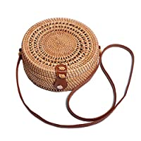 Hamkaw Rattan Bag Natural Round Straw Bag Woven Crossbody Bag For Women Handmade Bag With Leather Strap Bohemian Bali Summer Beach Purse